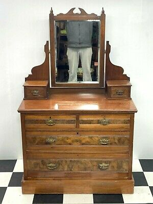 Antique Victorian stained beech mirrored dressing chest of drawers - Delivery