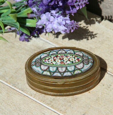 Rare Antique french brass mirco mosaic floral trinket jewelry box