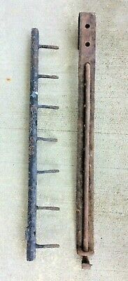 """Primitive Hearth Ware Forged Iron 52"""" Adjustable Trammel & 29"""" Utensil Meat Rack"""