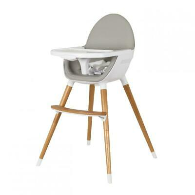 Koo-di Duo Convertible Wooden Highchair With Harness, Removable Tray GREY