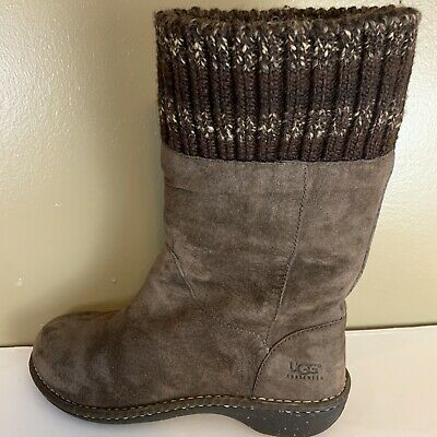 Ugg Australia Womens Kaylana Pull On  Brown Leather Shearling Boots Size 9 M