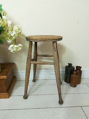 Antique Wooden Stool Milking Artist Kitchen Welsh Vintage Farmhouse Country