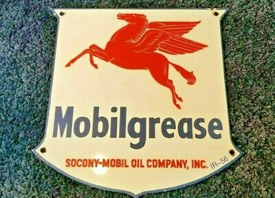 "Vintage 1956 Mobil Mobilgrease Pegasus 11 3/4"" Porcelain Metal Gasoline Oil Sign"