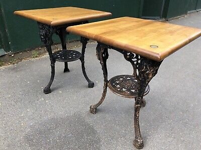 """Pair of Square Cast Iron """"Lady Face"""" Pub Tables (Restaurant / Cafe Tables)"""
