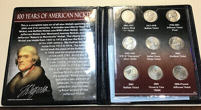 100 YEARS OF AMERICAN NICKELS - 9 COIN SET. From First Commemorative Mint Inc.