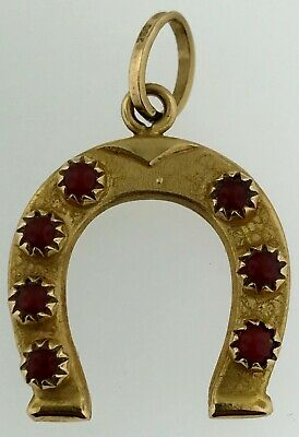 Antique Solid 18K~Coral & Cat's Eye Stones~Italy Lucky Horse Shoe Pendant Charm