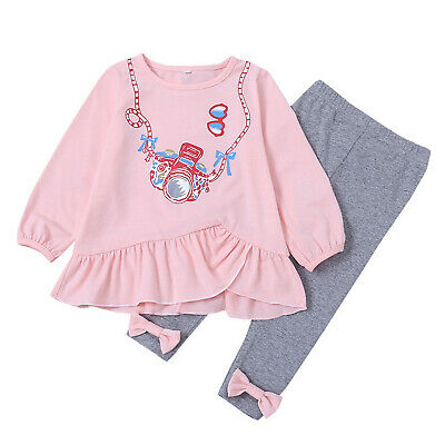 Toddler Kids Baby Girl Ruffle T Shirt Tops Pants Leggings Outfits Two Piece Sets