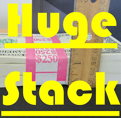 250 One Dollar Bills BIG Stack of New, Uncirculated $1 Notes = 2 1/2 BEP Packs