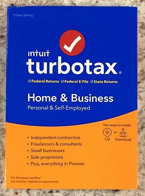 TurboTax Home & Business Federal + State 2019 - Mac|Windows - New, Free Shipping