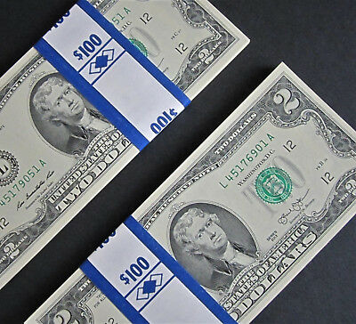 50 Mint, Uncirculated Two Dollar Bills, Crisp $2 Note Consecutive Serial Numbers