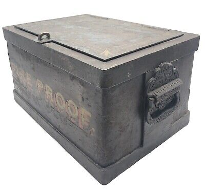 Antique Strong Box Fire Proof Safe Stagecoach Railroad Strongbox HEAVY