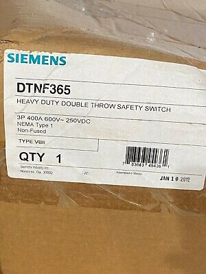Siemens Dtnf365 Double Throw Safety Switch 400A