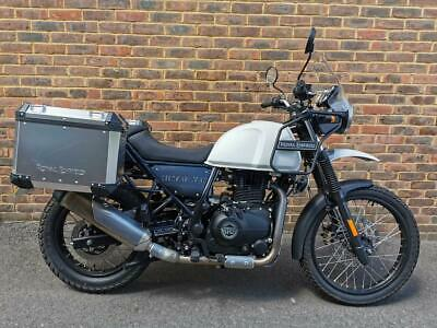 Royal Enfield Himalayan, 3703 miles, one owner, side panniers, fsh, white
