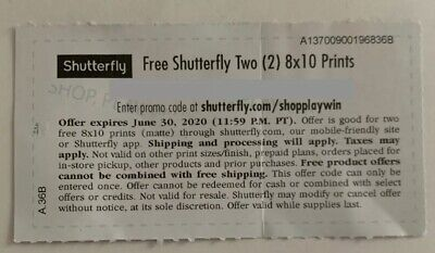 Shutterfly Code, Two(2) 8x10 Prints, Expires 06/30/2020, Messaged Upon Purchase