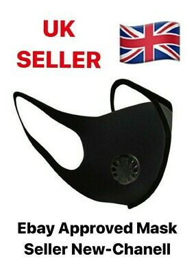 Reusable And Washable Face Mask Black With Filter Valve Outdoor Protection UK