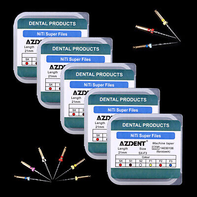 AZDENT 5* Dental Universal NiTi Super Rotary Files 21mm SX-F3 Engine Use