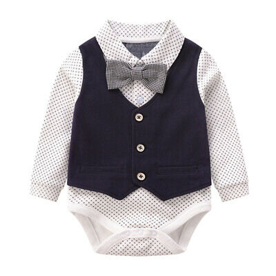 1pc Baby Clothes Gentleman Fashionable Suit Jumpsuit Outfits for Baby Kid Infant