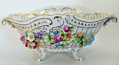 """Antique Thieme Dresden Reticulated Flower Encrusted Footed 12"""" Bowl"""