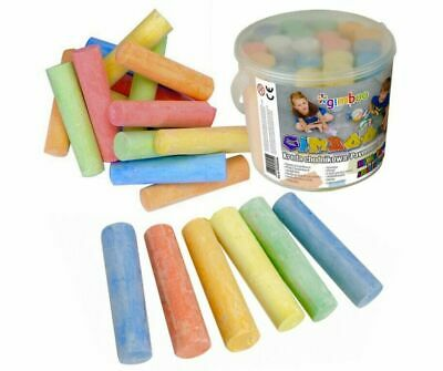BUCKET of 20 GIANTS CHALK STICKS 7 Colours  Blackboard Pavement Kids Art Craft