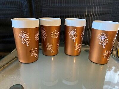 Vintage Mid Century Modern 60s 70s Plastic Drinking Cups Set of 4 Gold