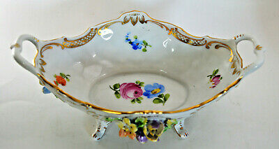 Antique Thieme Dresden Flower Encrusted Footed Bowl with Handles