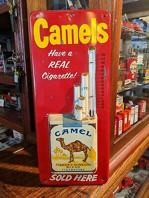 Vintage 1950's Camel Cigarettes Tin Litho Embossed Wall Thermometer Robertson