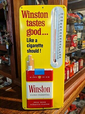Vintage 1950's Winston Cigarettes Tin Litho Embossed Wall Thermometer