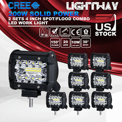 8x 4 inch 200w CREE LED Work Light Pod Spot Flood Combo Driving Light Ford