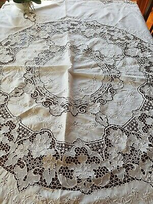 Vintage White Italian Point De Venise Lace Tablecloth Needlelace Reticella 200cm