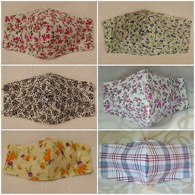Adult Size Handmade Reusable 100% Cotton Fabric Cloth Face Mask w/ Filter Slot