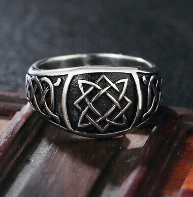 Vintage Celtic Knot Wedding Rings Men's Stainless Steel Gothic Amulet Ring Punk