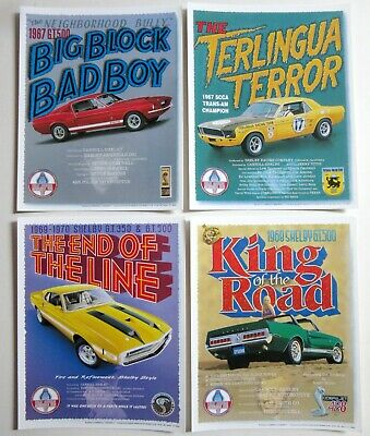 cartes postale 4 LARGE different FORD MUSTANG Muscle Cars post card