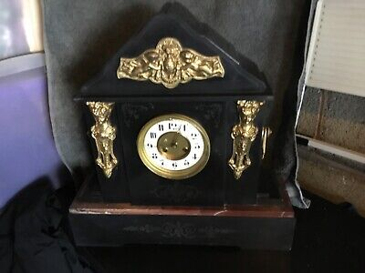 French black slate and marble antique mantle clock.