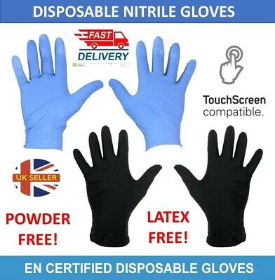 100 Nitrile Rubber Gloves Powder/Latex Free Black Blue Gloves PPE M L