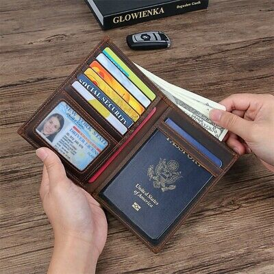 RFID Blocking Leather Passport Holder Wallet Cover Case Travel For Men and Women