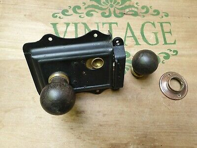 Old rim lock & wooden handles & brass backplate & repro keep
