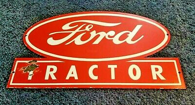 Vintage Ford Automobile Porcelain Gas Tractor Large Heavy Service Station Sign