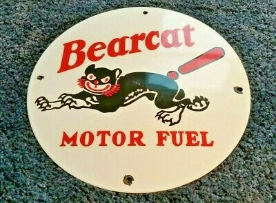 Vintage Bearcat Gasoline Porcelain Motor Oil Fuel Service Station Pump Sign