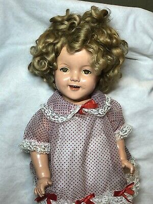 "21"" Antique Ideal Composition Shirley Temple Doll Diamond Ideal Mark Adorable #L"