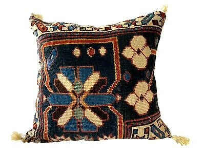 """Pillow W/ 19th  Antique Caucasian Rug Fragment 12.5"""" by 12.5"""""""