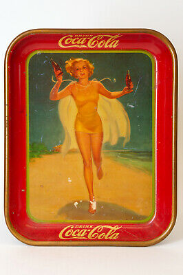 Vintage 1937 Drink Coca Cola Coke Girl In Yellow Swimsuit Metal Advertising Tray