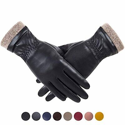 REDESS Winter Leather Gloves for Women Wool Fleece Lined Warm Gloves Touchscre