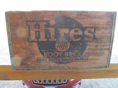 Antique Hires Root Beer Soda Pop Bottle Wood Box Wooden Crate Advertising Holder