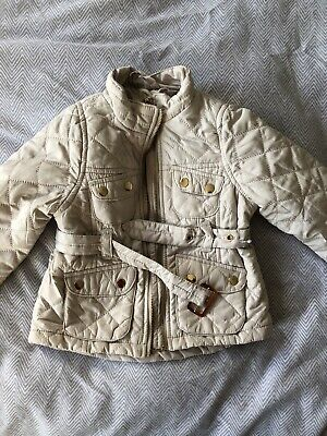 H&M Girl's Quilted Jacket Cream Age 2-3 years