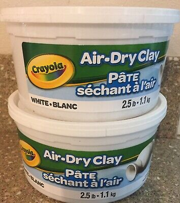 CRAYOLA AIR DRY CLAY 2.5 LBS LOT (2) WHITE Brand NEW IN TUBS FACTORY SEALED