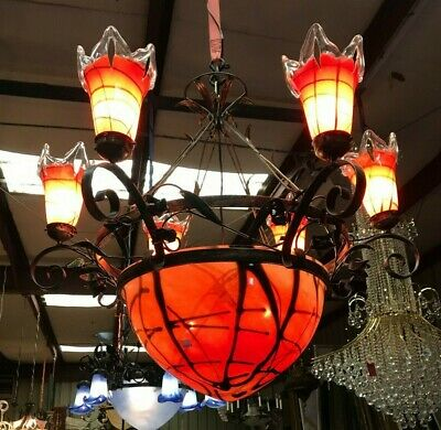 Orange Hand-Blown Glass Wrought Iron Chandelier