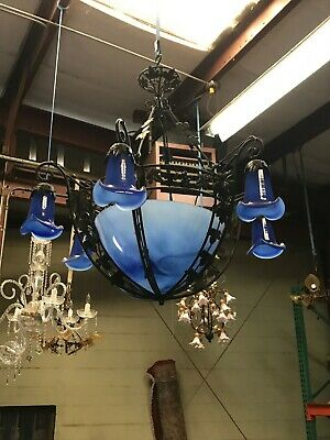 Wrought Iron Blue Glass Chandelier