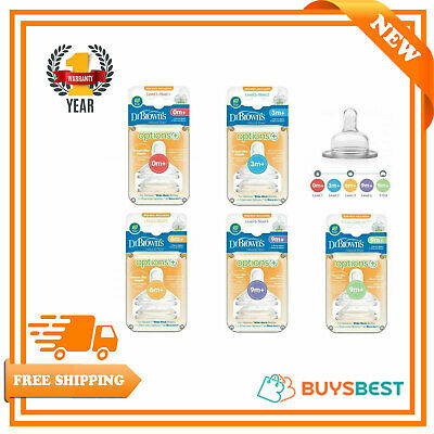 Dr Browns Baby Options+ Feeding Nipples Bottle Teats Level 1,2,3,4,