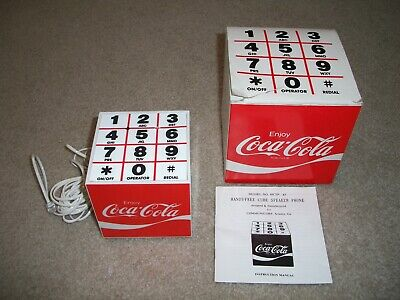 Vintage 1980s Coca Cola Olympics Cube Hands Free Pulse Dial Phone Telephone
