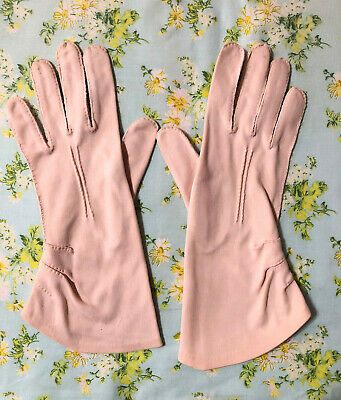 Vintage Gloves Pink  Womens 1960's Fabric